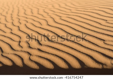 Close-up view of sand dune patterns in the sahara desert, Morocco, - stock photo