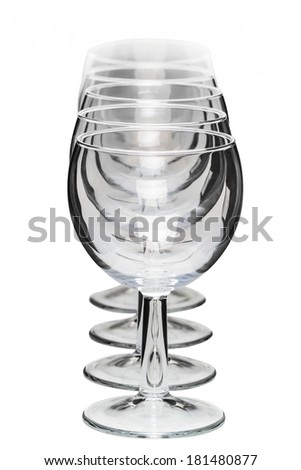Close up view of several aligned empty glasses of wine isolated on a white background. - stock photo