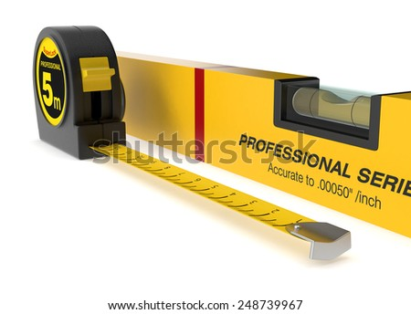 close up view of spirit level and a tape measure (3d render) - stock photo