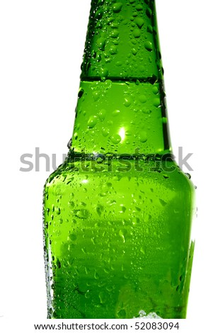 Close up view of the bottle in ice - stock photo