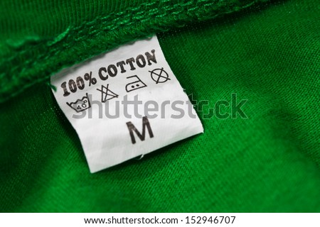 Close up view of the clothing label - stock photo