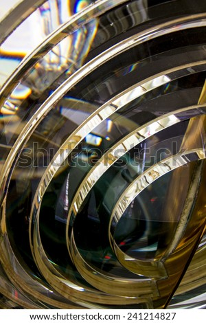 Close up view of the fresnel lens inside a lighthouse.  - stock photo