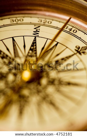 Close up view of the old compass. Small DOF - stock photo