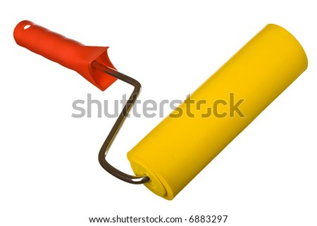 Close up view of the Paint roller - isolated on white - stock photo
