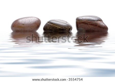 Close up view of the three Stone in water - stock photo