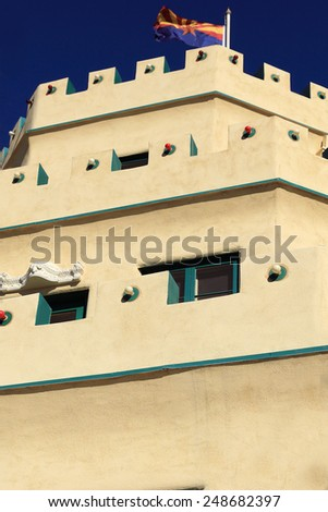Close-up view of the three-tiered Tovrea Castle in Phoenix, Arizona - stock photo
