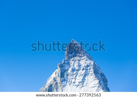 Close up view of the top part of Matterhorn, a famous peak of swiss alps near Zermatt in Switzerland - stock photo