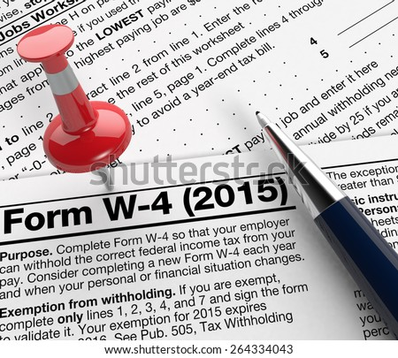 close up view of w-4 form for usa taxes, with a pen and a red pin (3d render) - stock photo
