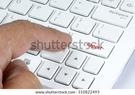 Close up view of white keyboard report button - stock photo