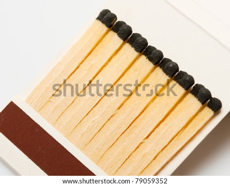 Close-up view of wooden matches in matchbook - stock photo