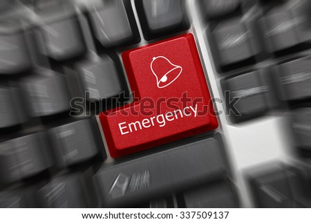 Close-up view on conceptual keyboard - Emergency (red key, zoom effect) - stock photo