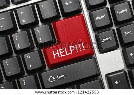 Close up view on conceptual keyboard - Help (red key) - stock photo