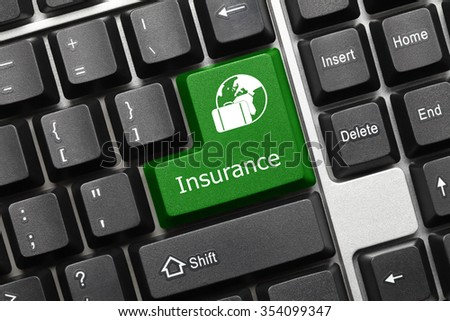 Close-up view on conceptual keyboard - Insurance (green key with travel symbol) - stock photo