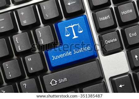 Close-up view on conceptual keyboard - Juvenile Justice (blue key) - stock photo