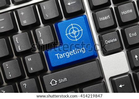 Close-up view on conceptual keyboard - Targeting (blue key with target symbol) - stock photo