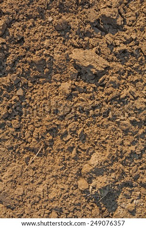 close up view on fresh plouged ground texture  - stock photo