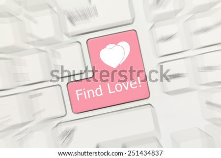 Close-up view on white conceptual keyboard - Find Love (pink key). Zoom effect - stock photo