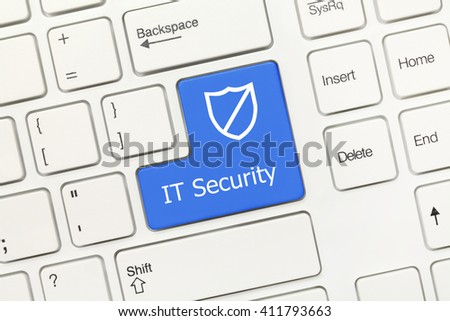 Close-up view on white conceptual keyboard - IT Security (blue key with shield symbol) - stock photo