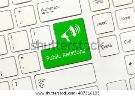 Close-up view on white conceptual keyboard - Public Relations (green key with megaphone symbol) - stock photo