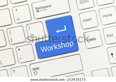 Close-up view on white conceptual keyboard - Workshop (blue key) - stock photo