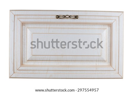 Close up view on wooden wardrobe drawer front, gold or bronze metal handle decorated with glass diamond one clipping path included - stock photo