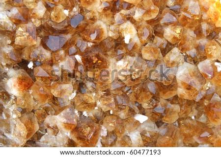 Close up view to beautiful citrine quartz background - stock photo