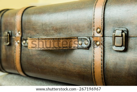 close up Vintage suitcase  - stock photo