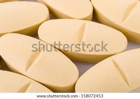 Close up Vitamin C pills - stock photo