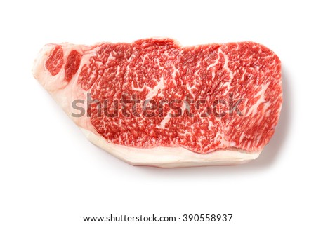 Close up wagyu beef striploin steak isolated on white - stock photo
