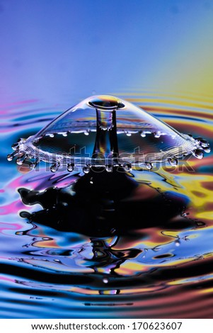 close up  water drop collision - stock photo