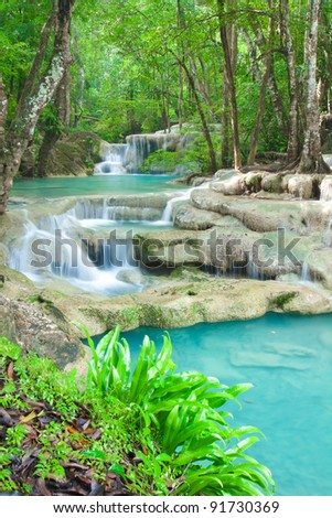 Close up waterfall in Kanjanaburi Thailand - stock photo
