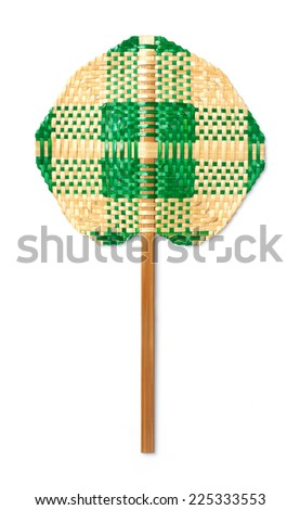 Close up weaved bamboo handheld fan isolated on white - stock photo