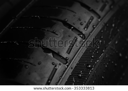 close-up wet tire texture - stock photo