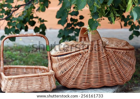 close-up  wicker baskets and other items made from natural materials - stock photo
