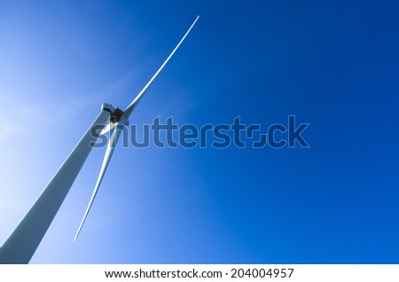 Close up wind turbine. Renewable energy source  - stock photo