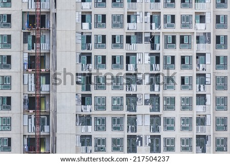 Close up Windows office building background. - stock photo
