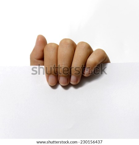 close up woman hand holding paper on white background - stock photo