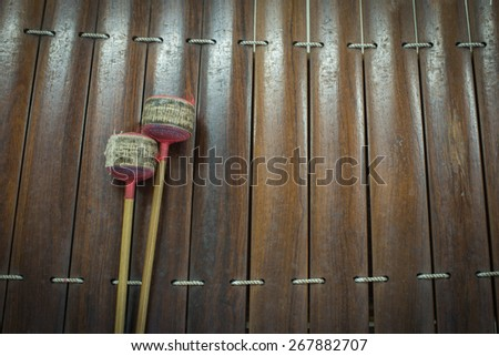 Close up wooden thai musical instrument - stock photo