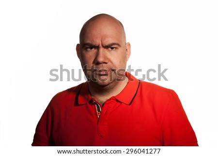 Close up worrying bald man isolated on white. - stock photo