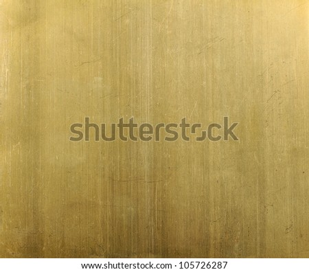 Close up  yellow brass metal plate - stock photo