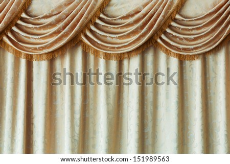 Close up yellow color elegance curtain background - stock photo