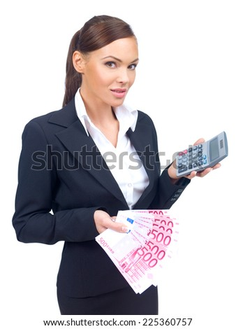 Close up Young Businesswoman Showing Money and Calculator on Hand While Looking at Camera. Isolated on White Background. - stock photo