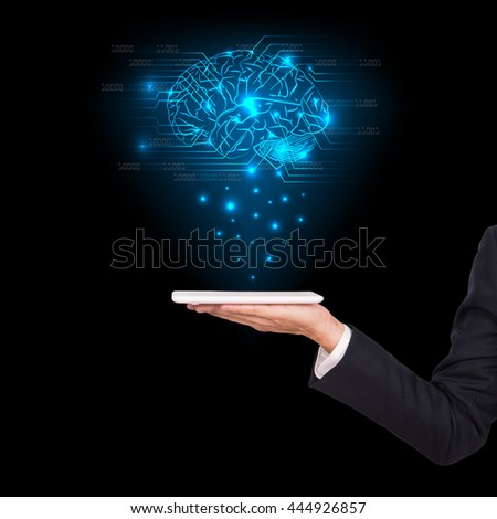Close-upof business man brain with tablet in hand - stock photo