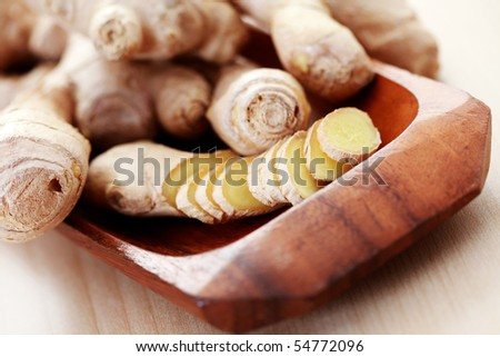 close-ups of fresh ginger root - spices - stock photo