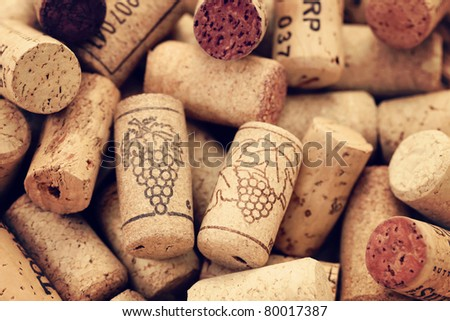 close-ups of wine corks backgrounds - stock photo