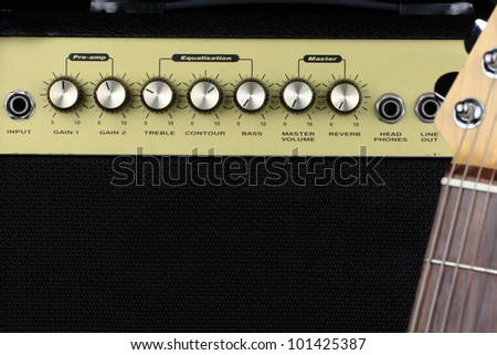Close view of a small electric guitar amplifier - stock photo