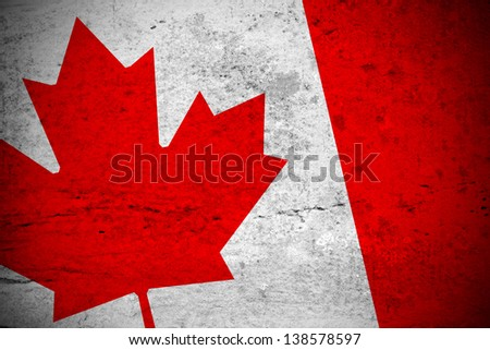 Close view of a vintage canadian flag illustration - stock photo