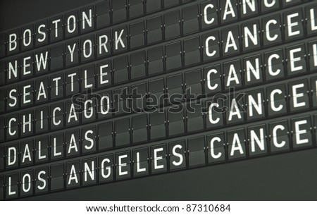 close view of an airport electronical informational display - stock photo