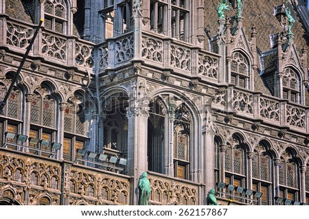 Close view of facade of Museum of the City of Brussels, Belgium located at Grand Place square - stock photo