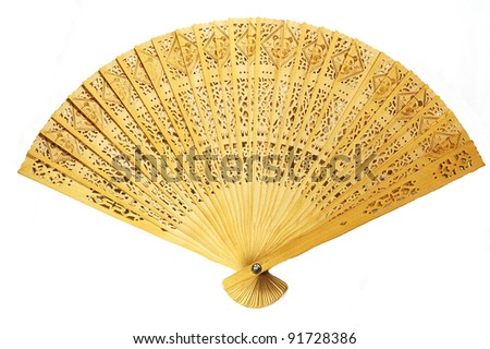 Close view of fully stretched wooden japanese fan - stock photo